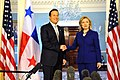 Secretary Clinton Shakes Hands With Panamanian Vice President and Foreign Minister Varela (5436054389).jpg