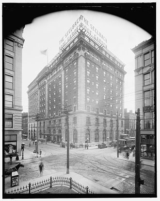 Seelbach Hotel - A photo of the Seelbach Hotel and the surrounding neighborhood in 1910.