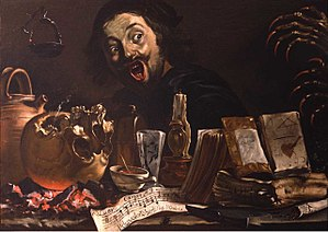 Pieter van Laer - Magic scene with self-portrait