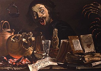 Pieter van Laer - Magic scene with self-portrait