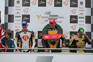 2011 Manx Grand Prix - 2011 Senior MGP podium - (From left to right) Grant Wagstaff, Andrew Brady, Dan Sayle.