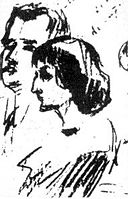 Sergey Gorodetsky. Sketch of Anna Akhmatova and Mikhail Lozinsky,1913.jpg