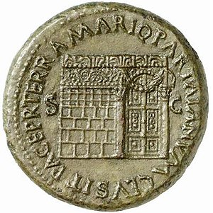 Temple of Janus (Roman Forum) - Image of the Temple of Janus on a coin from the reign of Nero (54-68 AD). Note the ornate roof decoration, latticed window (left), and garland hung across the closed double doors (right).