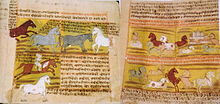 Pages of an old manuscript, filled with script. Several paintings of horses are shown, including horses running free and interacting with humans.