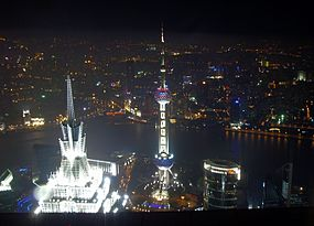Shanghai, night, towers.JPG