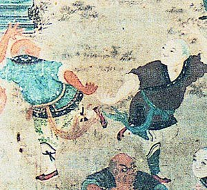 Ancient depiction of fighting monks practicing...
