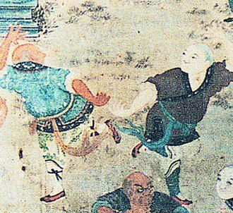 Chinese martial arts - Depiction of fighting monks demonstrating their skills to visiting dignitaries (early 19th-century mural in the Shaolin Monastery).