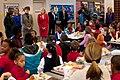 Sheila Casey and Dr. Jill Biden greet elementary school children, 2011.jpg