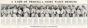 Waist (clothing) - A 1906 advertisement for sewing patterns by The Modern Priscilla, a needlework magazine, showing 16 different designs for shirtwaists, with details about patterns and materials.