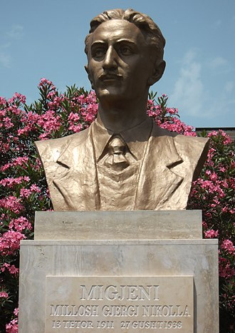 Millosh Gjergj Nikolla - Bust of Nikolla in front of the Migjeni Theatre in Shkodër, Albania
