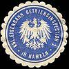 Siegelmarke Königliche Eisenbahn - Betriebsinspection 1 in Hameln W0229522.jpg