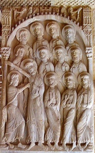 Abbey of Santo Domingo de Silos - Carved panel from the cloisters showing Doubting Thomas