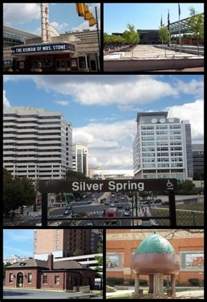 Silver Spring, Maryland - Clockwise from top: AFI Silver, Veteran's Plaza and the civic building, Downtown Silver Spring from the Metro station, Acorn Park, Baltimore and Ohio Railroad Station