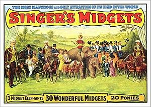 """Leo Singer - Poster advertising """"Singer's Midgets"""" (circa 1915)"""