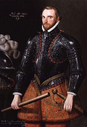 "Richard Grenville - Contemporary portrait of Sir Richard Grenville, inscribed: An(no) D(omi)ni 1571 aetatis uae 29 (""In the year of Our Lord 1571, of his age 29""). National Portrait Gallery, London."
