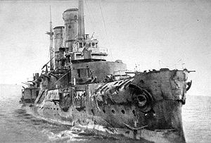 Russian battleship Slava - The sinking Slava