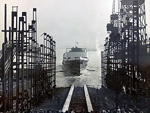 SS Snaefell (1948) - Snaefell is launched at Birkenhead March 11th, 1948.