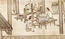 Soaking the cocoons and reeling the silk (Sericulture by Liang Kai, 1200s).jpg
