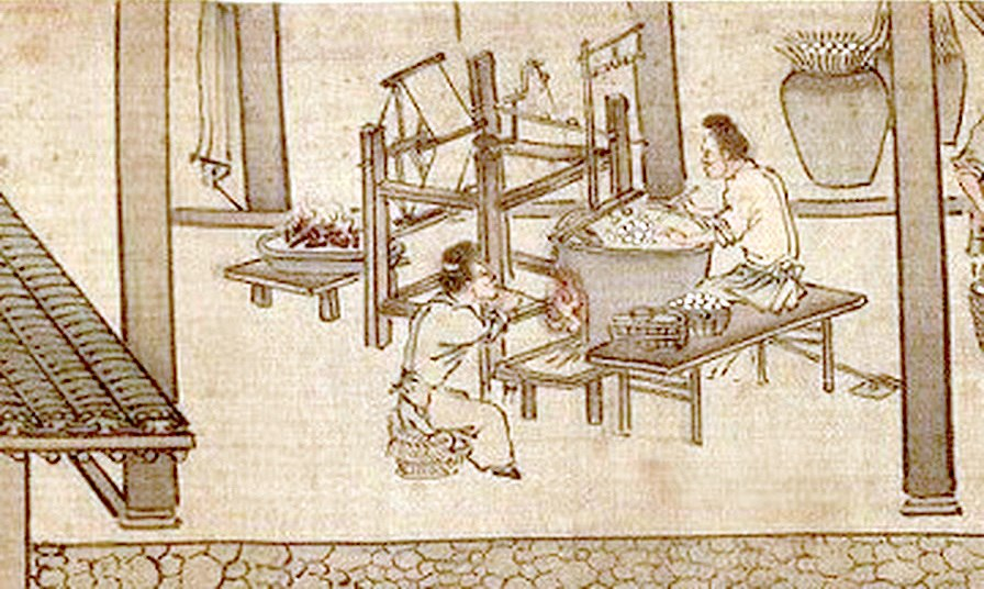 Soaking the cocoons and reeling the silk (Sericulture by Liang Kai, 1200s)