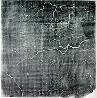 The Yu Ji Tu, or Map of the Tracks of Yu Gong, carved into stone in 1137, located in the Stele Forest of Xi'an. This 3 ft (0.91 m) squared map features a graduated scale of 100 li for each rectangular grid. China's coastline and river systems are clearly defined and precisely pinpointed on the map. Yu Gong is in reference to the Chinese deity described in the geographical chapter of the Classic of History, dated 5th century BCE.