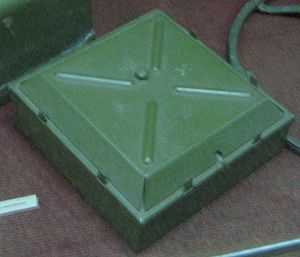 Anti-tank mine - Soviet TM-35 mine at the Museum of Heroic Defense and Liberation of Sevastopol on Sapun Mountain, Sevastopol