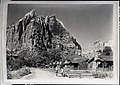 Spearhead mountain from below Zion Lodge, sometimes called the Monastery or Cathedral Mountain. ; ZION Museum and Archives Image (f899a1df7b914df78878e096f24c9e81).jpg