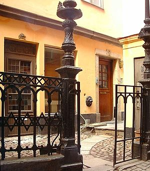Spektens Gränd - Cast iron decorations in the easternmost of the two courtyards in the alley.