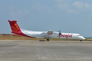 Mangaluru Airport - Spicejet Q400 VT-SUE at Mangalore International Airport