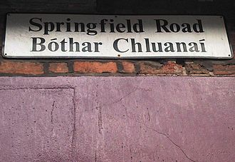 Springfield Road - Bilingual street sign at the junction with the Falls Road