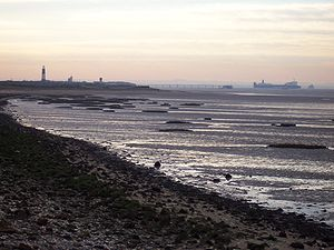 Spurn Point, East Riding of Yorkshire in twilight.