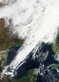Satellite image of storm line into Gulf of Mexico