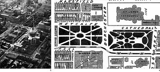Place du Canada - Photo of Dominion Square in 1927 and the 1907 Groundplan. Notice the key design differences between the square and the plaza