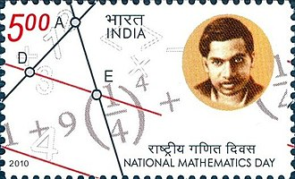 Srinivasa Ramanujan - The 2012 Indian stamp dedicated to the National Mathematics Day and featuring Ramanujan