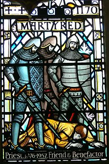 St.David's Cathedral - Thomas Becket-Kapelle 7 Fenster Ermordung Beckets.jpg