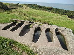 St Patrick's Chapel, Heysham - The group of six rock-cut tombs