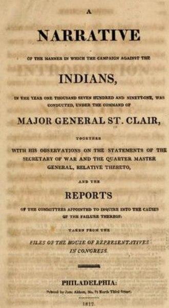 Arthur St. Clair - A Narrative printed by Jane Aitken