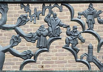 Enschede - Balcony of the town hall. Enschede receives city rights