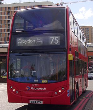 Stagecoach 12263 on Route 75, Lewisham Station (cropped).jpg