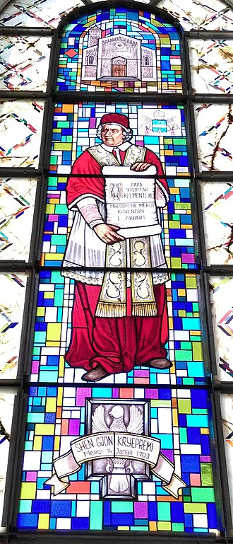 Pope Clement XI - Stained glass depiction of Clement XI at the Catholic Cathedral in Prishtinë, Kosovo