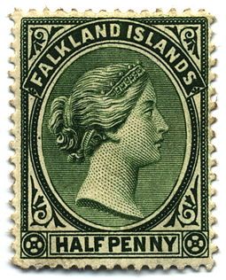Halfpenny postage stamp, issued 1891 Stamp Falkland Islands 1891 0.5p.jpg