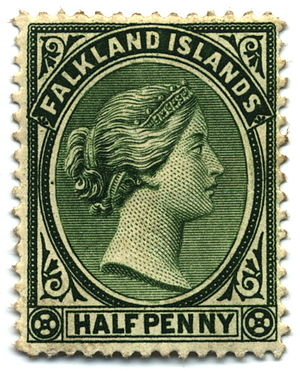 Stamp collecting - Queen Victoria's profile was a staple on 19th century stamps of the British Empire; here on a half-penny of the Falkland Islands, 1891.