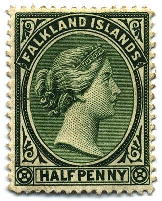 Economy of the Falkland Islands - Halfpenny stamp, 1891