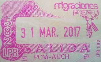 Visa policy of Peru - Image: Stamp of Peru 2017