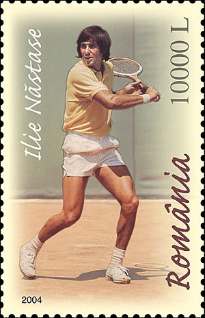Ilie Năstase - Năstase on a 2004 Romanian stamp