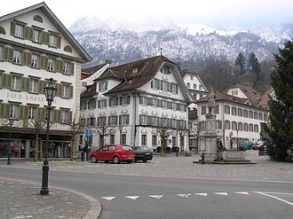 Stans - The village square (Dorfplatz) was rebuilt following the destruction of the 1713 fire.