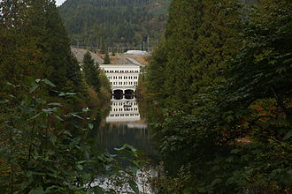 Stave Lake - Stave Lake Powerhouse seen from its tailrace