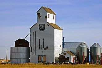 Stirling, Alberta - Last of three, the former P&H elevator now used as a Hemp plant.