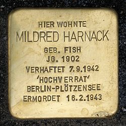 Photo of Mildred Harnack brass plaque