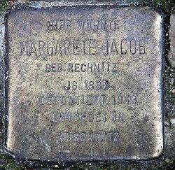 Photo of Margarete Jacob brass plaque