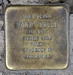 Photo of Fanny Durst brass plaque